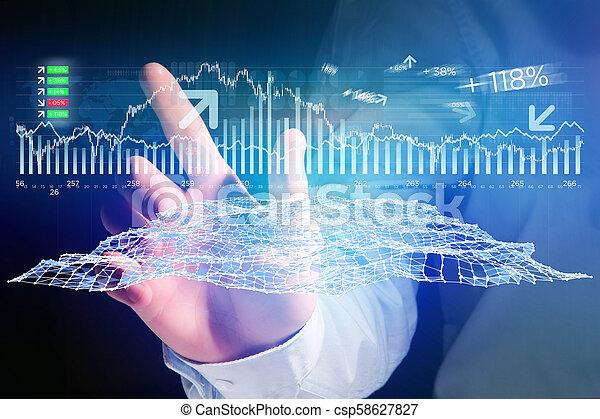 概念, ビジネス, -, forex, 取引, インターフェイス, データ, ホログラム, 未来派, 光景 - csp58627827