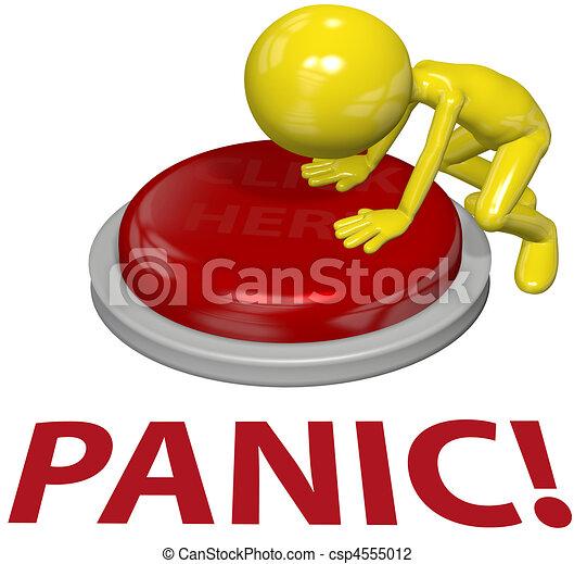 概念, ボタン, 人, 押し, 問題, パニック - csp4555012