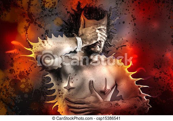 概念, 不安, 痛苦, 疾病, 人 - csp15386541