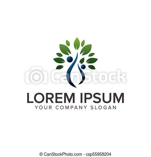 概念, 人々, 木, 緑, テンプレート, ロゴ, デザイン - csp55958204