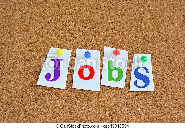 概念, 仕事, カラフルである, キャリア, ピン, ペーパー, 広告板 - csp43048534