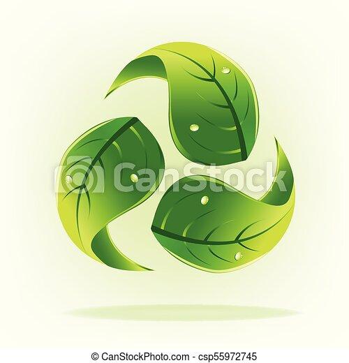 概念, 低下, 水, 緑, leafs, ロゴをリサイクルしなさい - csp55972745