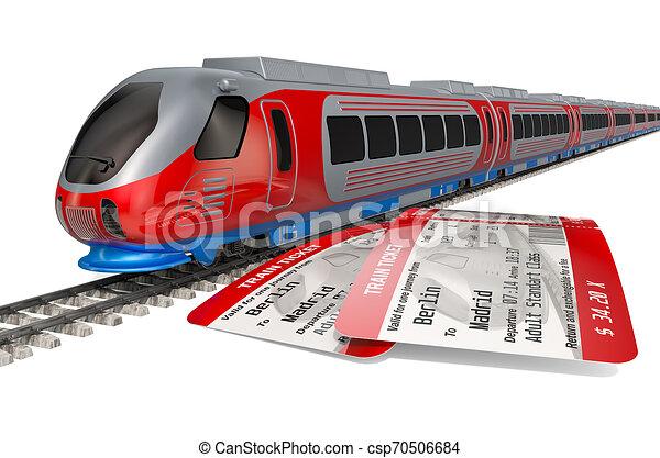 概念, 列車旅行, 高く, レンダリング, tickets., スピード, 3d - csp70506684