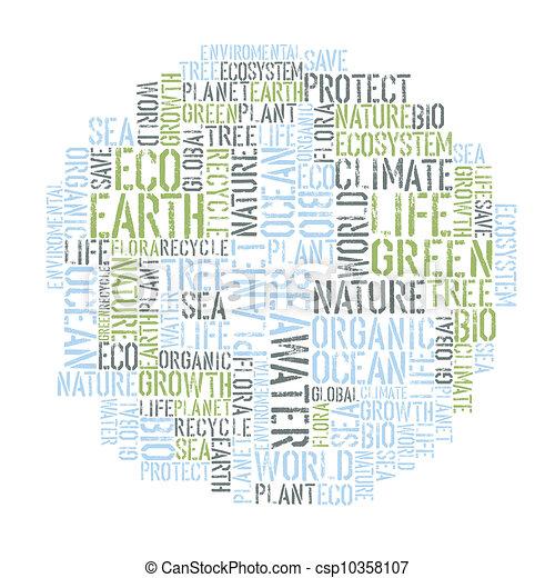 概念, 単語, イラスト, ポスター, collage., 環境, ベクトル, エコロジー, tempolate., デザイン, eps8., 地球 - csp10358107