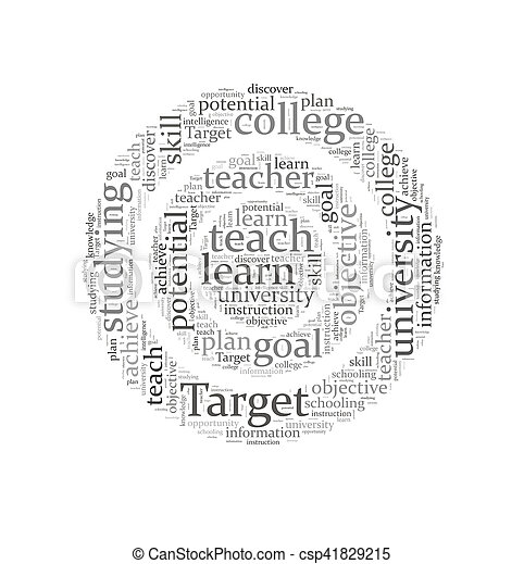 概念, 単語, ターゲット, 教育, 背景, 雲 - csp41829215