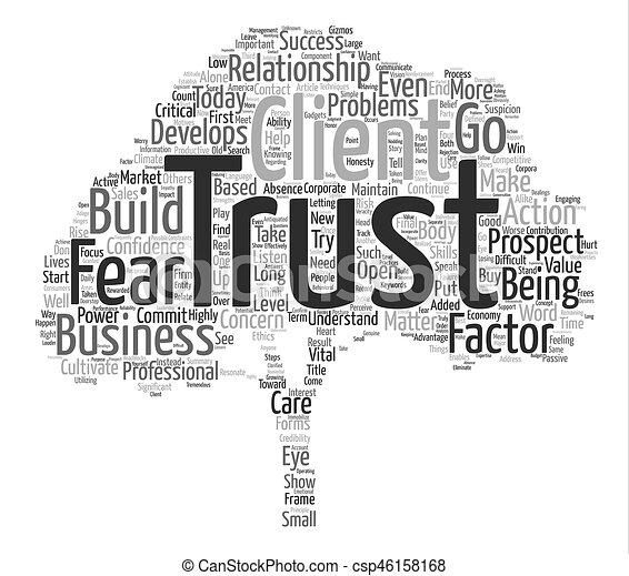 概念, 単語, ビジネス, テキスト, いかに, 背景, factor, 耕しなさい, 信頼, 雲 - csp46158168