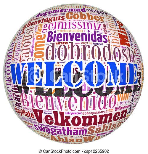 概念, 単語, 多数, 歓迎, 言語, world. - csp12265902