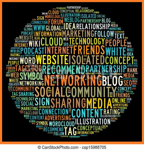 概念, 単語, 媒体, タグ, 社会, 雲 - csp15988705