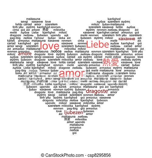 概念, 単語, 愛の色, 多数, 言語, 黒, 世界, 赤 - csp8295856