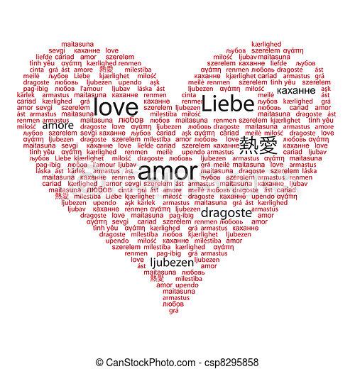 概念, 単語, 愛の色, 多数, 言語, 黒, 世界, 赤 - csp8295858