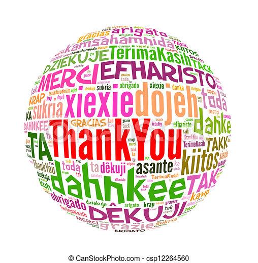 概念, 単語, 感謝しなさい, 多数, 言語, あなた, world. - csp12264560