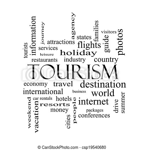 概念, 単語, 黒, 白, 観光事業, 雲 - csp19540680