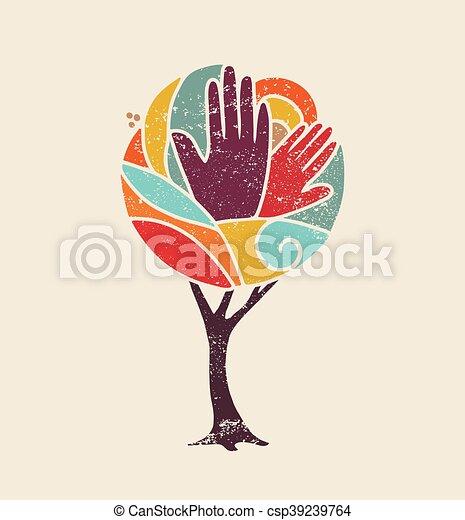 概念, 多様性, 人々が彩色する, 木, 手 - csp39239764