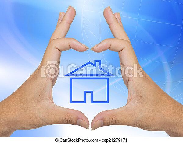 概念, 家, シンボル, 作られた, 手 - csp21279171