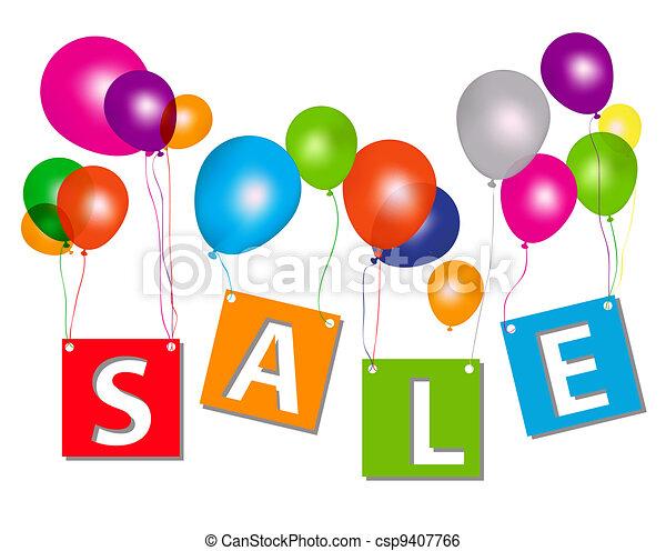 概念, 手紙, illustration., discount., セール, ベクトル, 風船 - csp9407766