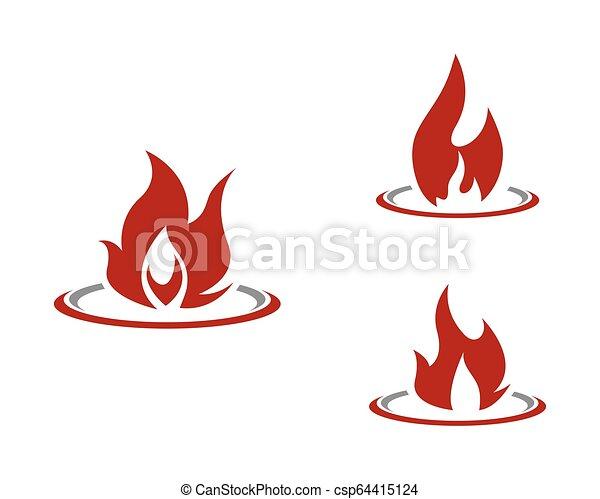 概念, 火, エネルギー, ガス, オイル, ベクトル, 炎, テンプレート, ロゴ, アイコン - csp64415124