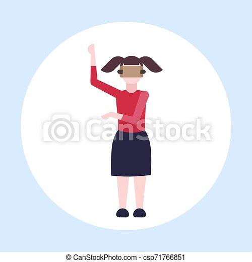 概念, 現代, vr, フルである, によって, 女性, 女の子, 技術, ヘッドホン, 特徴, バーチャルリアリティ, デジタル, 3d, 身に着けていること, 平ら, 女, 漫画, 経験, 長さ, ビジョン, ガラス - csp71766851