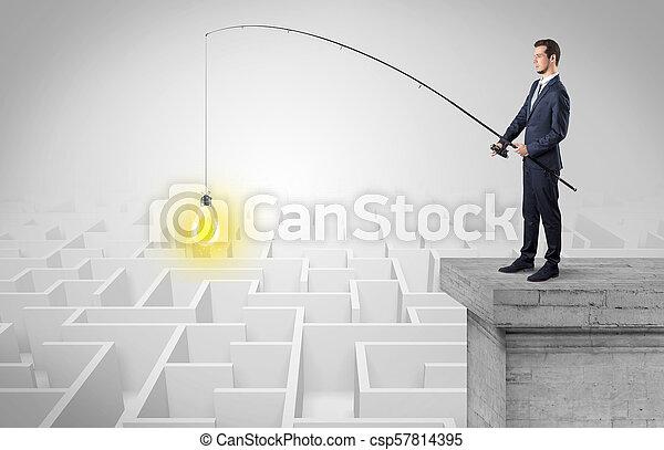 概念, 考え, 新しい, 釣り, ビジネスマン, 迷路 - csp57814395