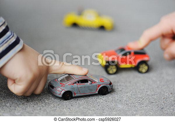 概念, 自動車, -, 幼年時代, おもちゃ, 潔白, 遊び - csp5926027
