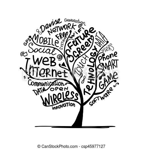 概念, 芸術, タグ, 木, インターネット技術 - csp45977127