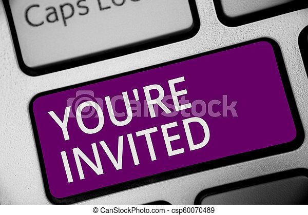 概念, 計算, テキスト, コンピュータキーボード, 私達の, invited., ゲスト, レ, 紫色, 作成しなさい, どうか, 執筆, intention, あなた, ありなさい, ビジネス, 歓迎, キー, 単語, 祝福, 参加しなさい, 反射, 私達, document. - csp60070489