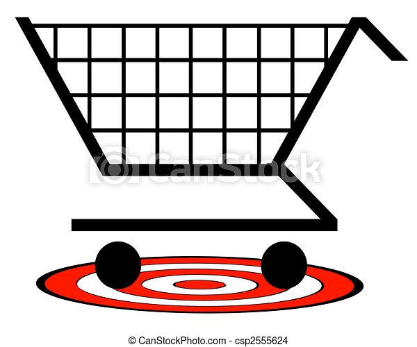 概念, 買い物, ターゲット, -, カート, 下に, 小売り - csp2555624