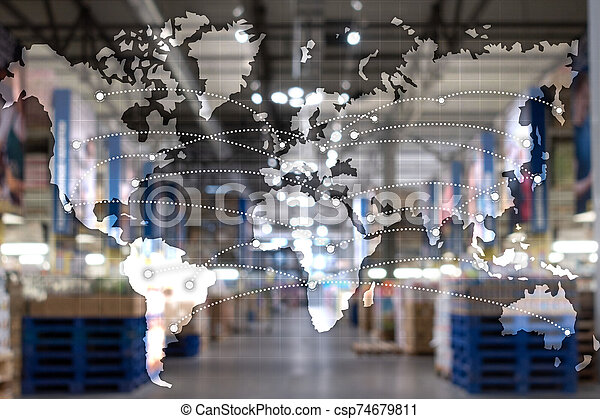 概念, 輸入, エクスポート, 地図, 世界的である, partnership., ロジスティクス - csp74679811