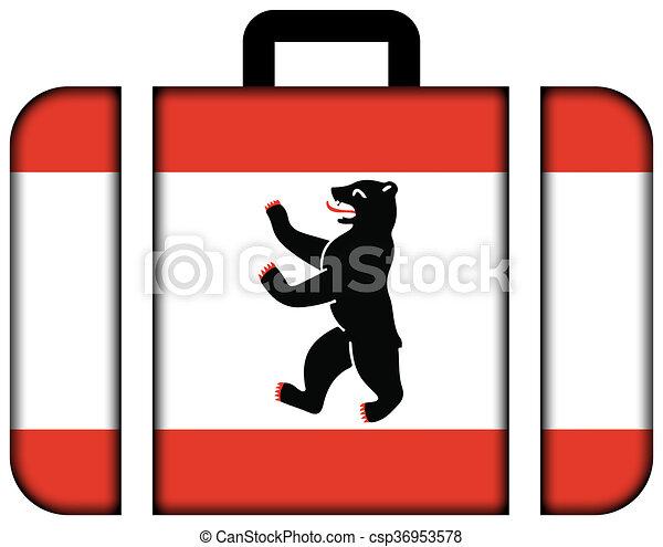 概念, 運輸, 旅行, 旗, berlin., 小提箱, 圖象 - csp36953578