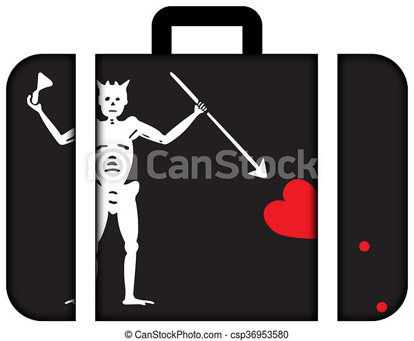 概念, 運輸, flag., 旅行, 小提箱, 圖象, 海盜, blackbeard - csp36953580