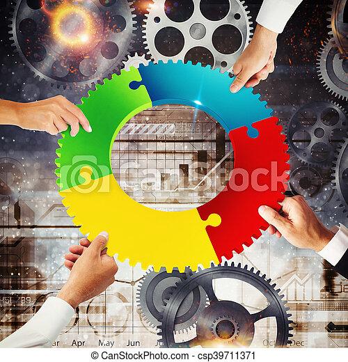 概念, gear., 統合, レンダリング, 接続, チームワーク, 3d - csp39711371