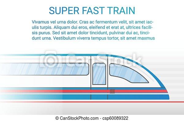 概念, illustration., 列車, 現代, 柵, 高く, ベクトル, スピード - csp60089322