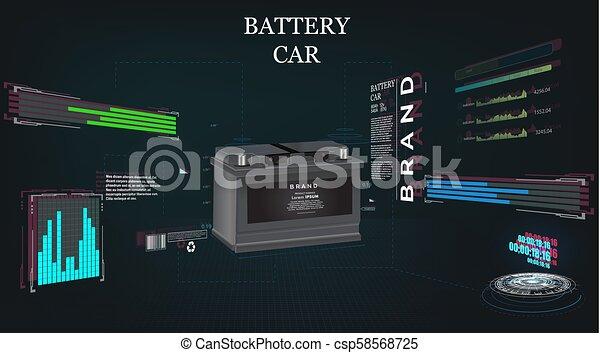 概念, sci, 自動車, やあ、こんにちは技術, 背景, 電池, fi, 未来派 - csp58568725