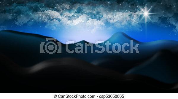 概念, sky., 星が多い, 砂漠, judaean, 現場, nativity, bethlehem, 陽気, 印, クリスマス, 雲 - csp53058865