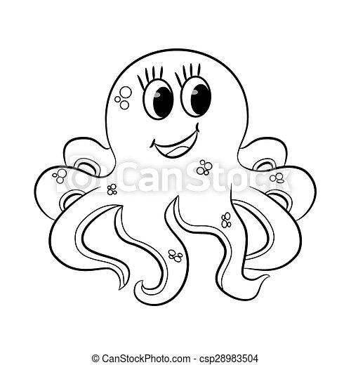 概説された, 漫画, octopus. - csp28983504