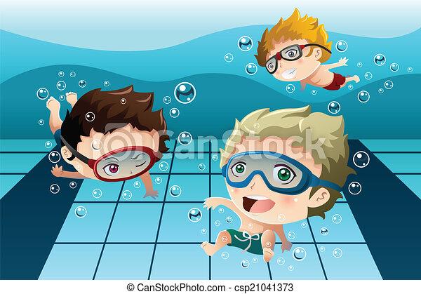 樂趣, 孩子, 有, 池, 游泳 - csp21041373
