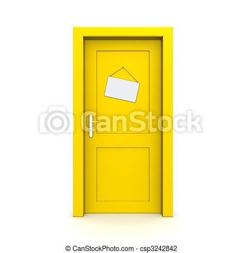 模造, ドア, 閉じられた, 黄色の符号 - csp3242842