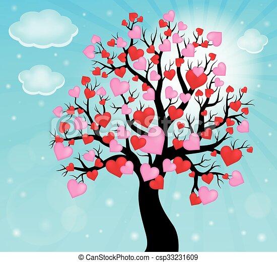樹, 主題, 2, 黑色半面畫像, 心 - csp33231609