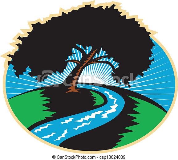 樹, 彎曲, 胡桃, retro, 河, 日出 - csp13024039
