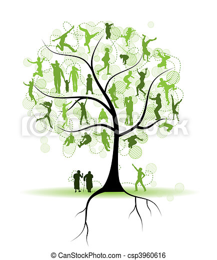 樹, 黑色半面畫像, 親戚, 家庭, 人們 - csp3960616