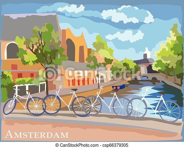 橋, カラフルである, 上に, bicycles, アムステルダム, 運河 - csp66379305