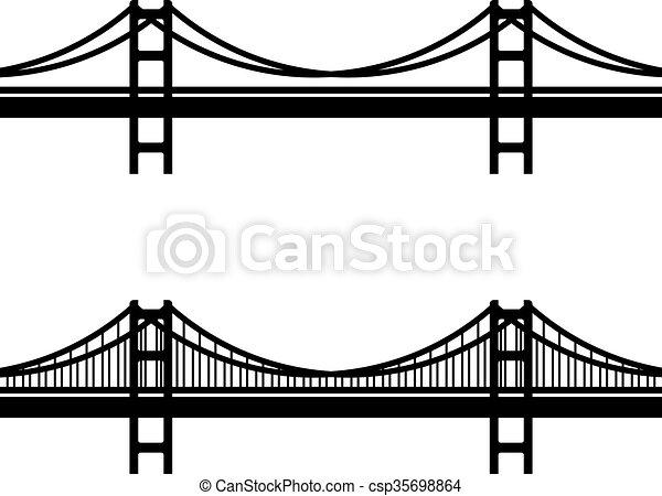 橋, ケーブル, シンボル, 金属, 黒, 懸濁液 - csp35698864