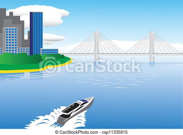 橋, ボート, モーター航海 - csp11335915