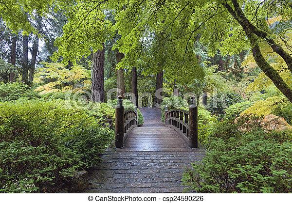 橋, 月, 日本の庭 - csp24590226