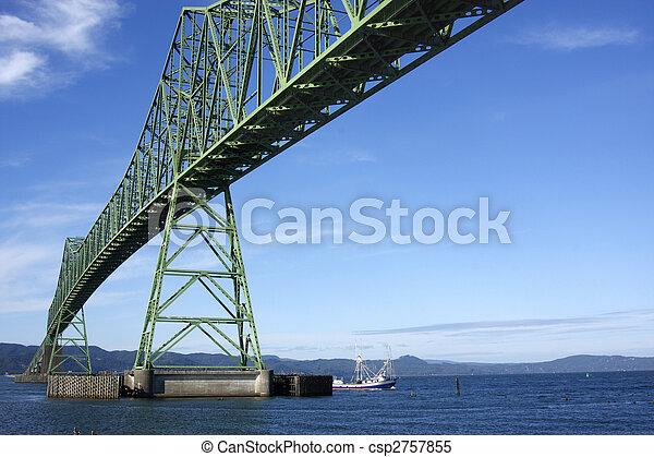 橋, 渡ること, boat., astoria, & - csp2757855