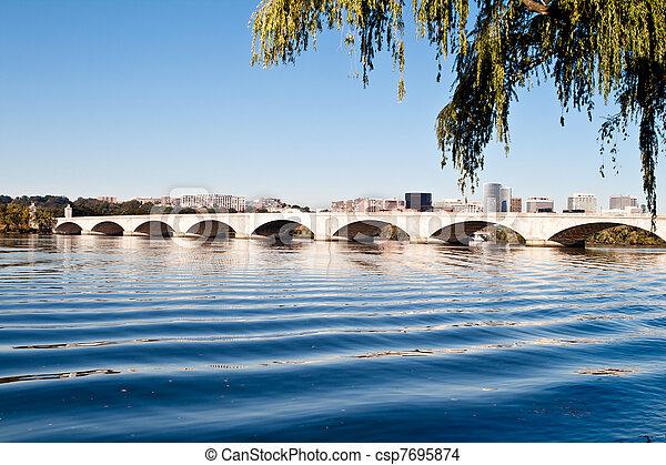 橋, 記念, アメリカ, washington d.c., ポトマックの 川 - csp7695874