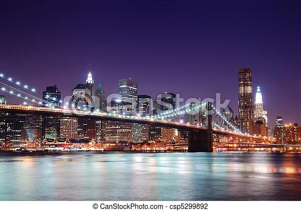 橋, brooklyn, スカイライン, マンハッタン - csp5299892
