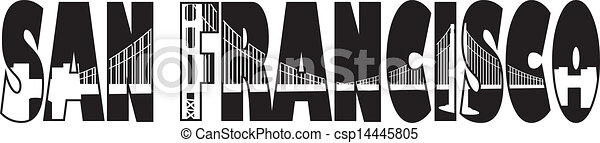 橋, francisco, san, 金, テキスト, イラスト, 門, アウトライン - csp14445805