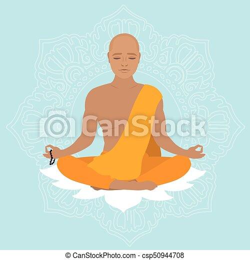 橙, robe., 西藏人, 僧侶 - csp50944708