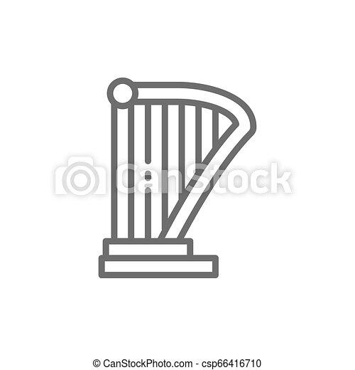 機器音楽, リラ, ハープ, 線, icon. - csp66416710