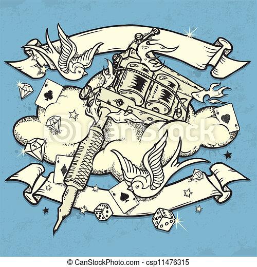 機械, 入れ墨, グランジ - csp11476315